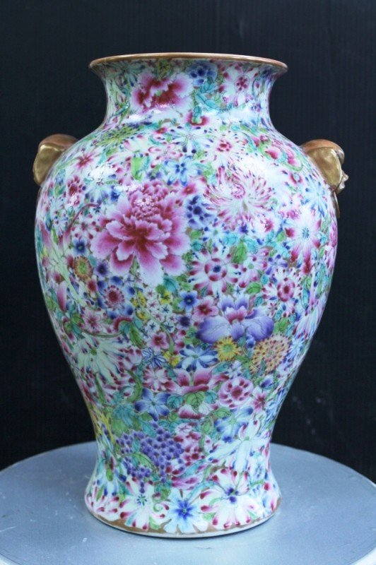 1: Chinese Qing Dynasty famille rose vase with animal h
