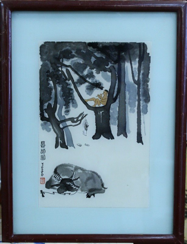 2: Chinese modern watercolor with frame, 7 1/2 X 5