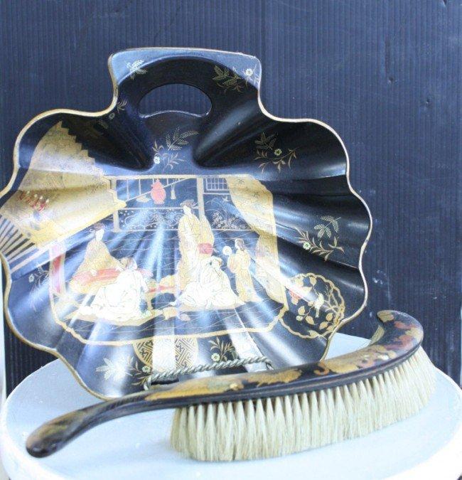 4: Japanese antique lacquer brush & pan set,