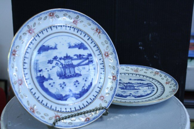 5: Chinese pair of export blue & white plate,late Qing