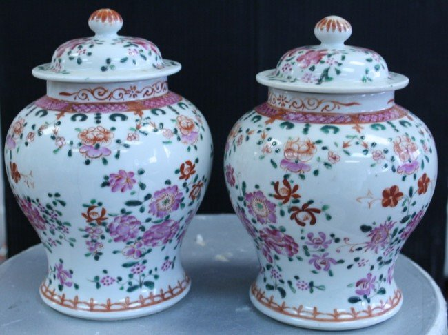 9: Chinese pair of famille rose republic period jars wi