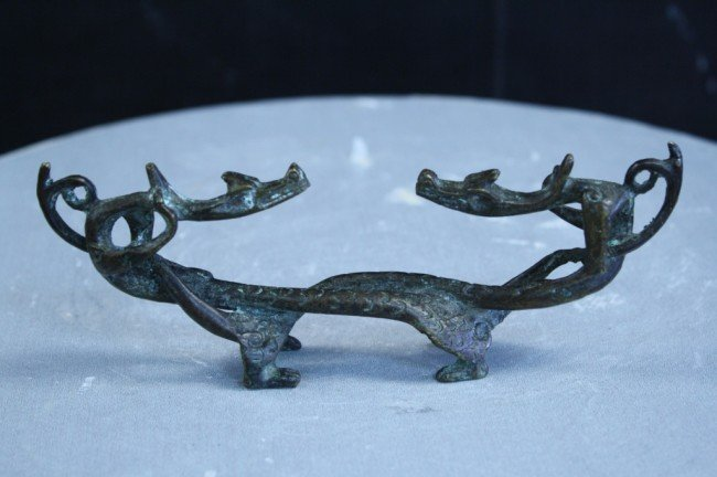 10: Chinese antique bronze dragon figure, Qing Dynasty,