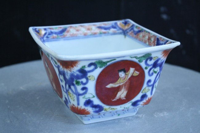 11: Chinese square bowl, 19th C , four marks, H : 3