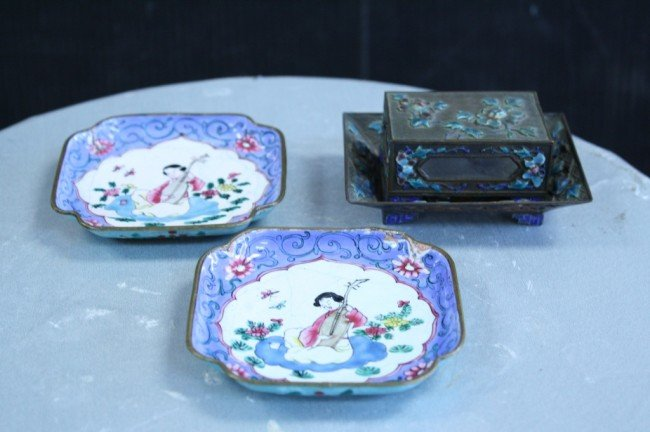 17: 4 PCS of Chinese enameled plates, plate: 3 1/2 X 3