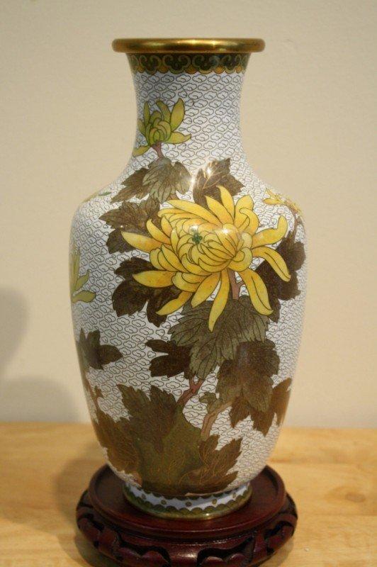 "28: Chinese White cloisonne vase, H: 10-1/4"""