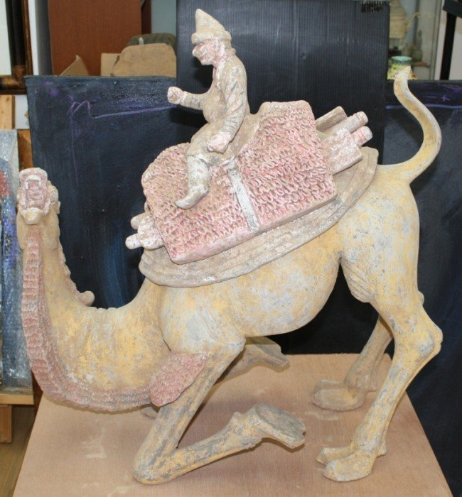197: Chinese Tang Dynasty pottery bactrian camel, H : 3