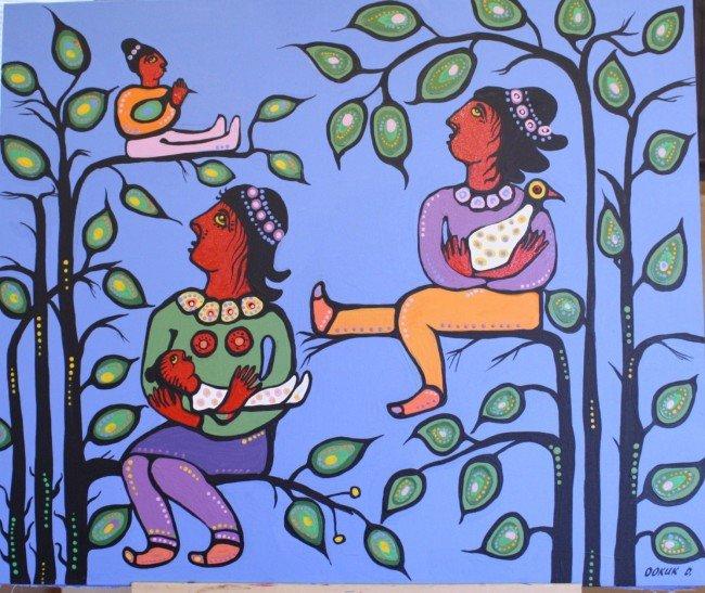 288: Ookuk Derain, Canadian, Acrylic on canvas, signed,