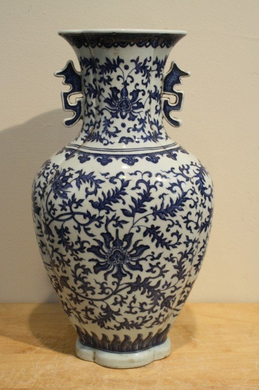 5: Qing blue and white porcelain vase Qianlong mark