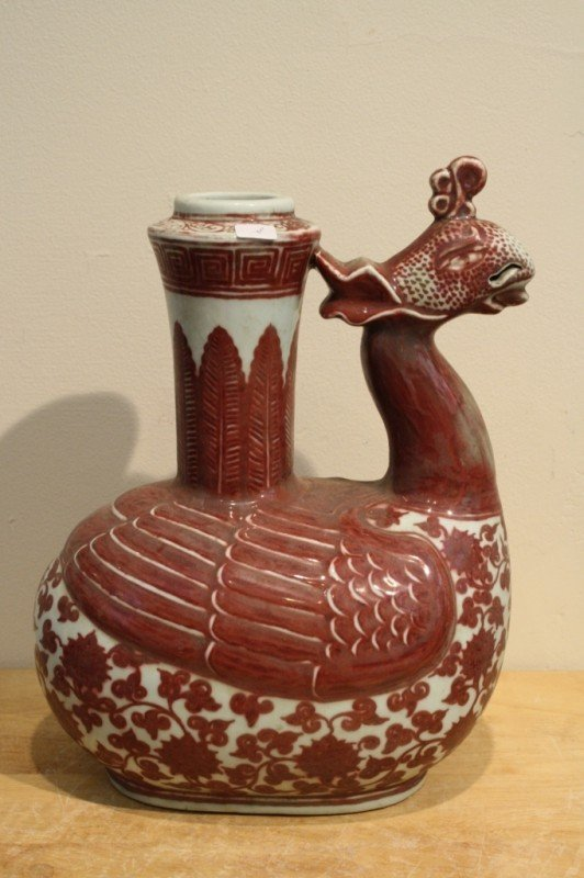 8: Chinese copper-red porcelain vase phoenix shaped