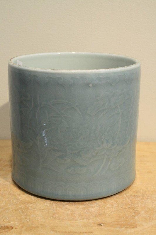 10: Chinese monochrome glazed porcelain brush pot