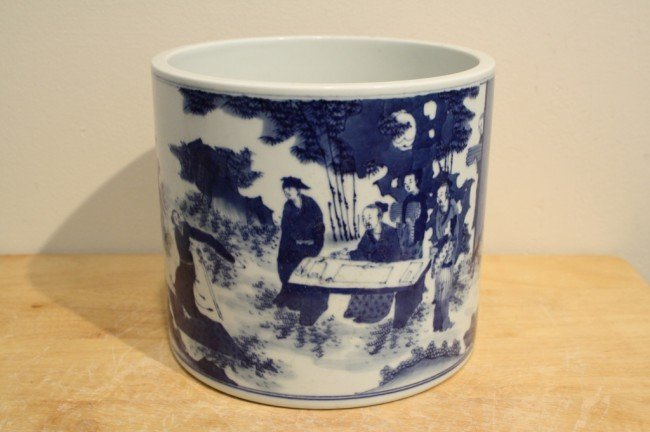 13: Chinese blue and white porcelain brush pot