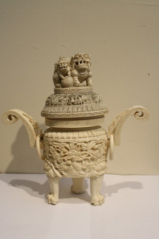 131: Chinese carved ivory tripod censer Qianlong mark