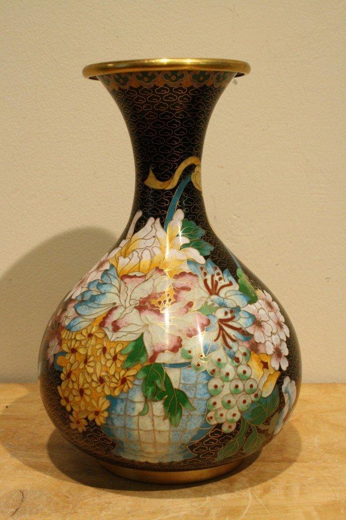 1: Chinese antique cloisonne vase