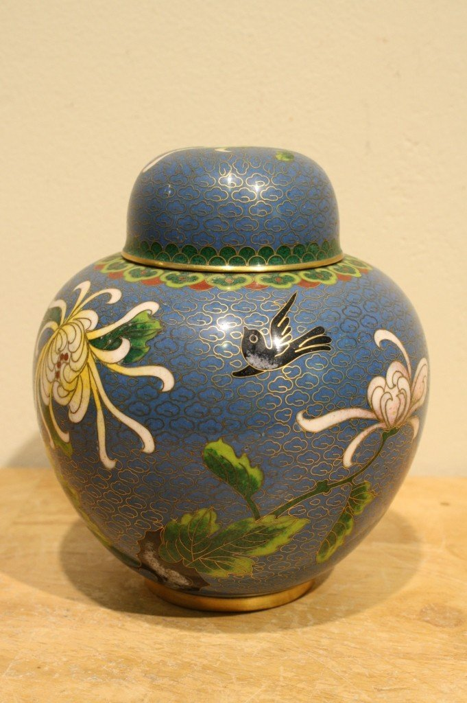 3: Chinese antique cloisonne jar with lid