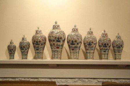 224: Rare set of 8 Ming Cheng Hua Doucai Plum Vases