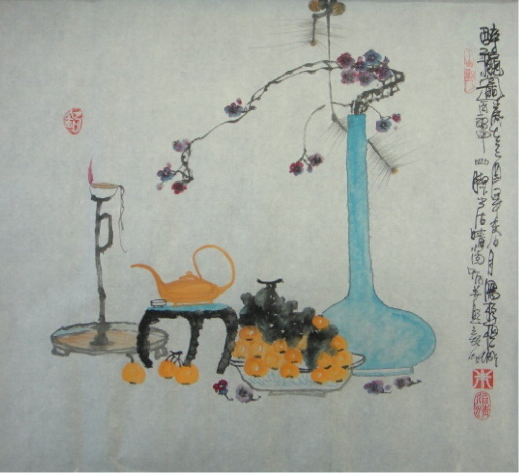 22: Bai Ching Chinese Watercolor on Paper