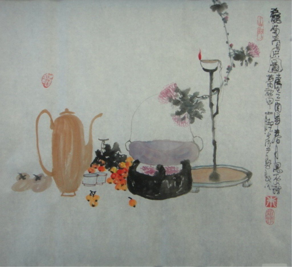 26: Bai Ching Chinese Watercolor on Paper
