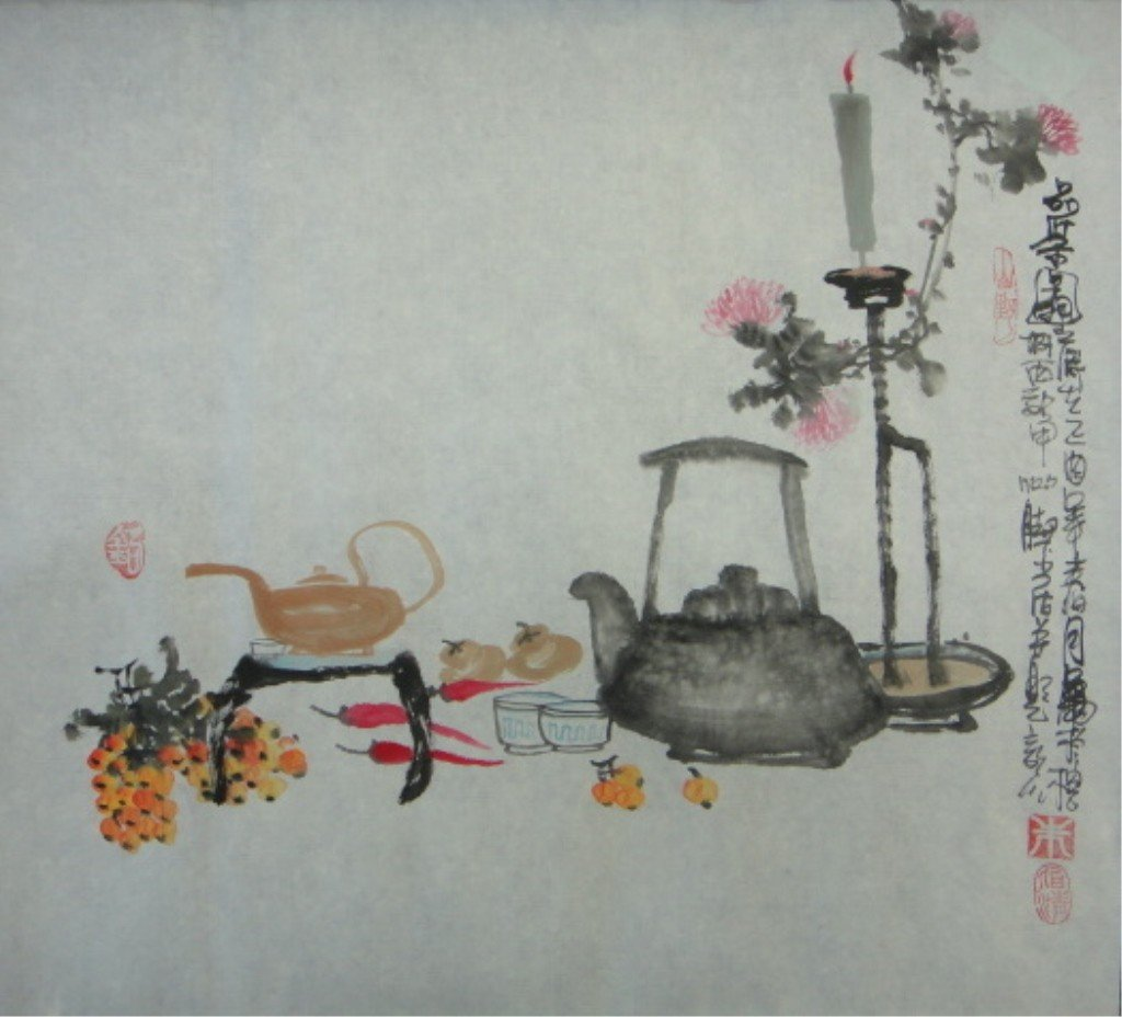 27: Bai Ching Chinese Watercolor on Paper