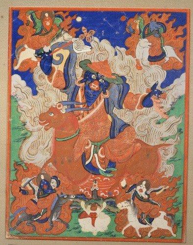 15: Chinese Tibetan Watercolor Thanka Yama Dharmaraja