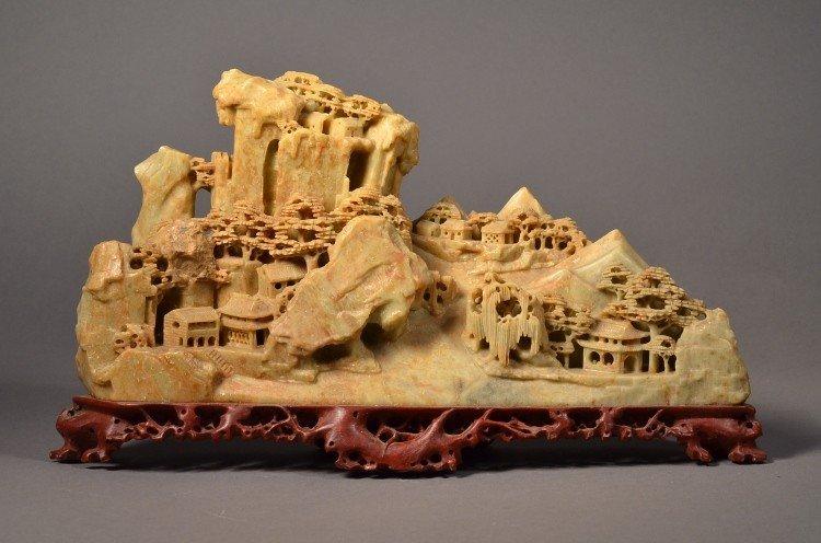 16: Chinese Soapstone Openwork Mountain Landscape