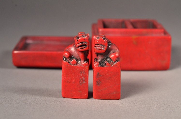 17: Pair Bloodstone Seals with Surmounted Fu Lion
