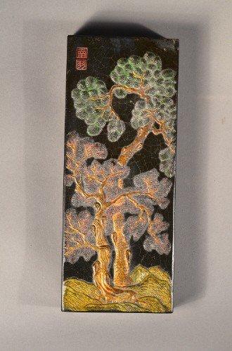 20: Chinese Ink Stone Lotus Tree Stamp & Calligraphy