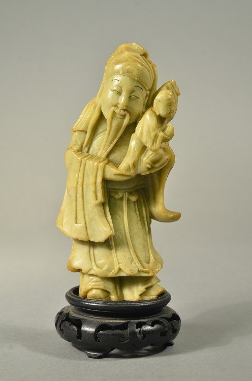 21: Chinese Soapstone Carving of Man with Baby