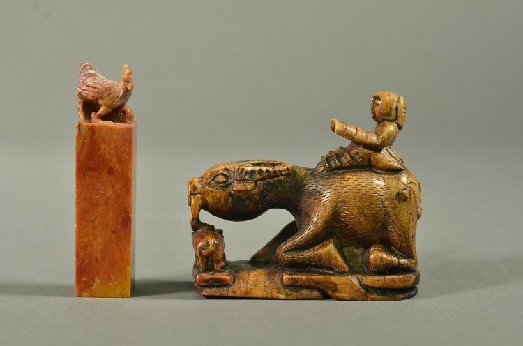 22: Set of 2 Chinese Soapstone Seal & Carved Jade Ox