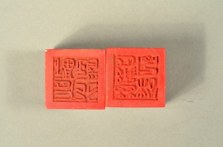 24: Pair Chinese Bloodstone Seals with Wooden Case