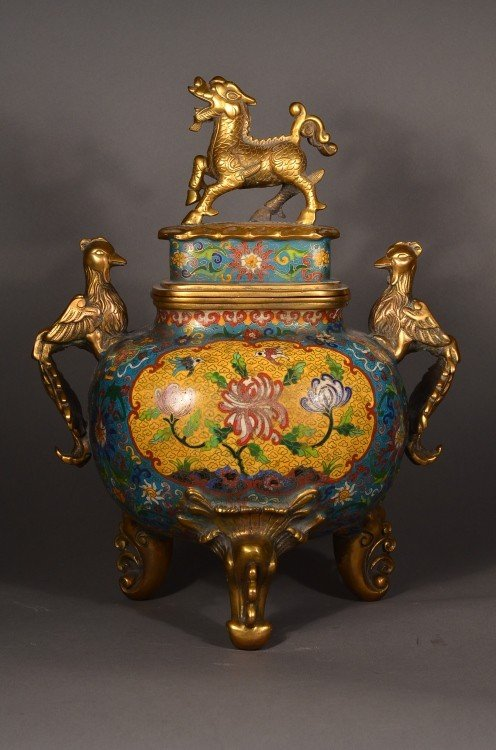 284: 15th C. Ming Xuande Imperial Cloisonne Censer