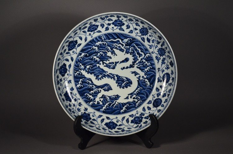 502: 15th C Xuande MP Blue White Reverse Dragon Charger