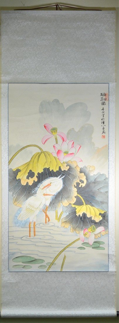 4: Chinese Watercolour on Paper Hanging Scroll
