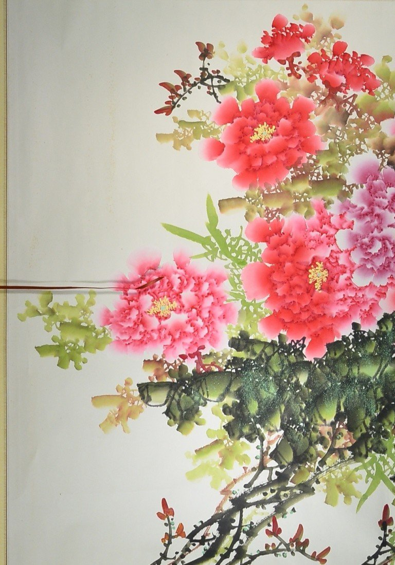 7: Chinese Watercolour on Paper: Peonies
