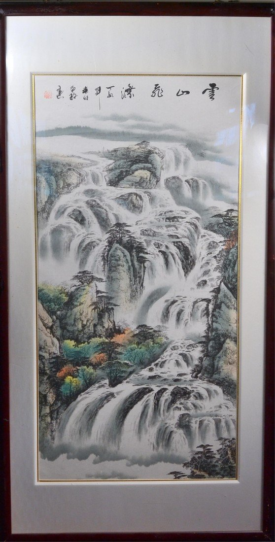 8: Framed Chinese Watercolour on Paper: Waterfall