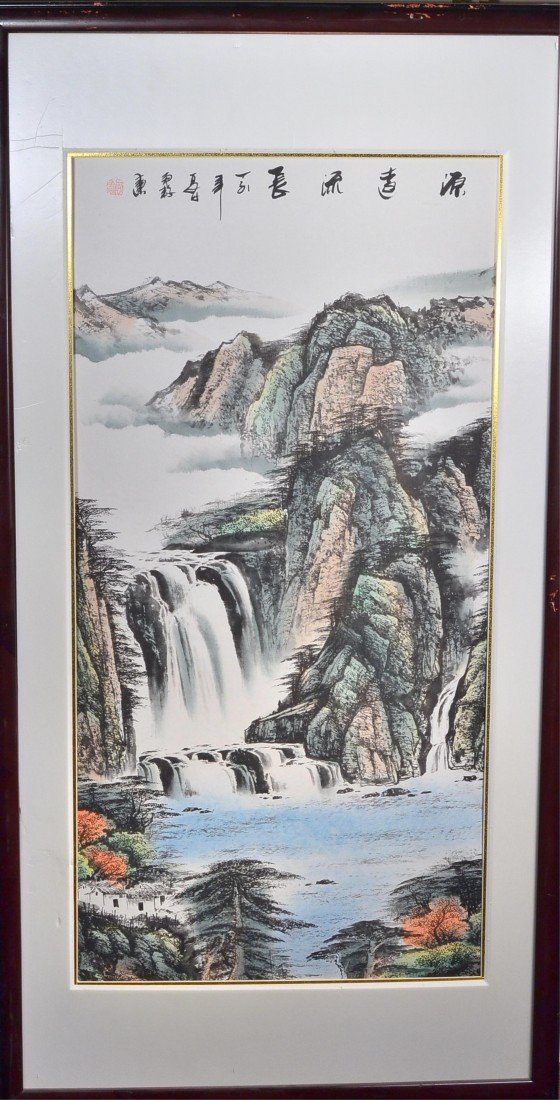 9: Framed Chinese Watercolour on Paper: Waterfall