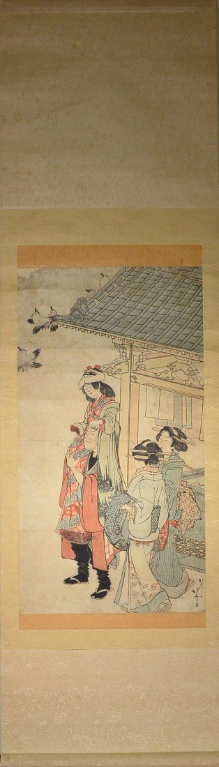 18: Japanese Scroll Watercolor: Figural Courtyard