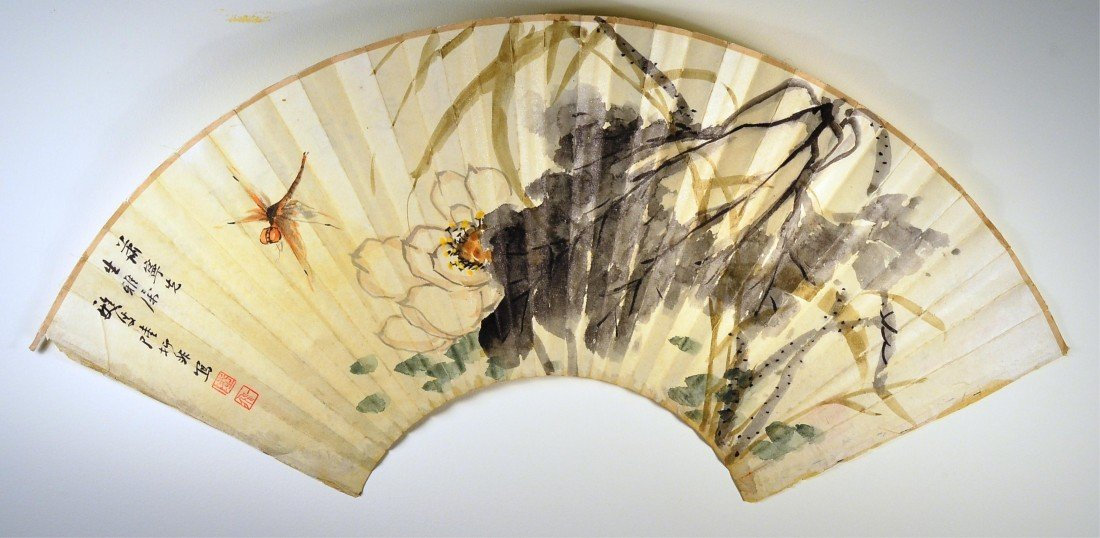 24: Chinese Mounted Watercolor Fan Painting: Dragonfly