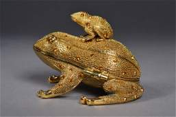 417 Chinese Gold Jeweled Gold Coloured Frog Box