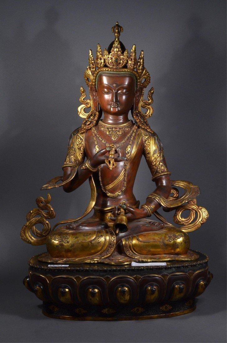 444: Chinese Ming Gilt Bronze Figure of Seated Amitayus