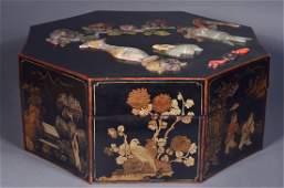 557: Chinese Octagonal Box Inset Jade, stone & Coral