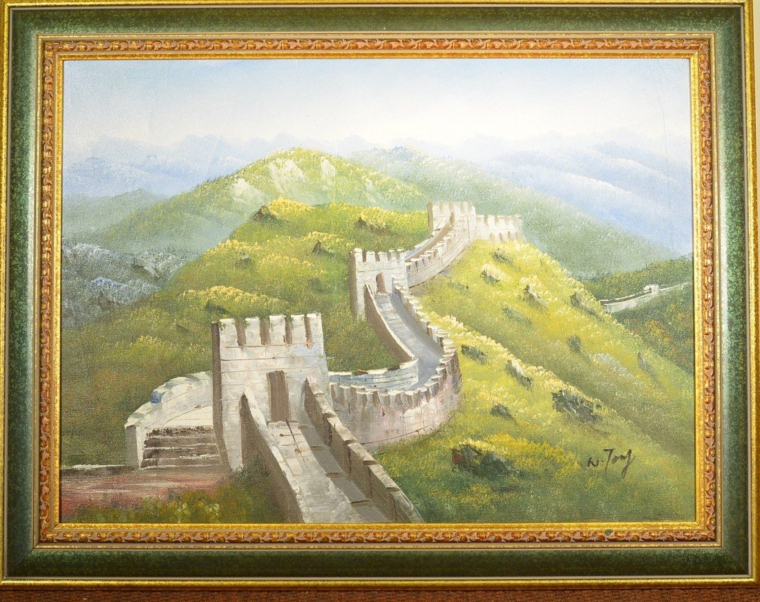 14: Chinese Oil on Canvas - Great Wall of China