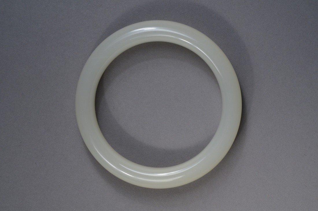 101: Chinese Carved White Jade Bangle