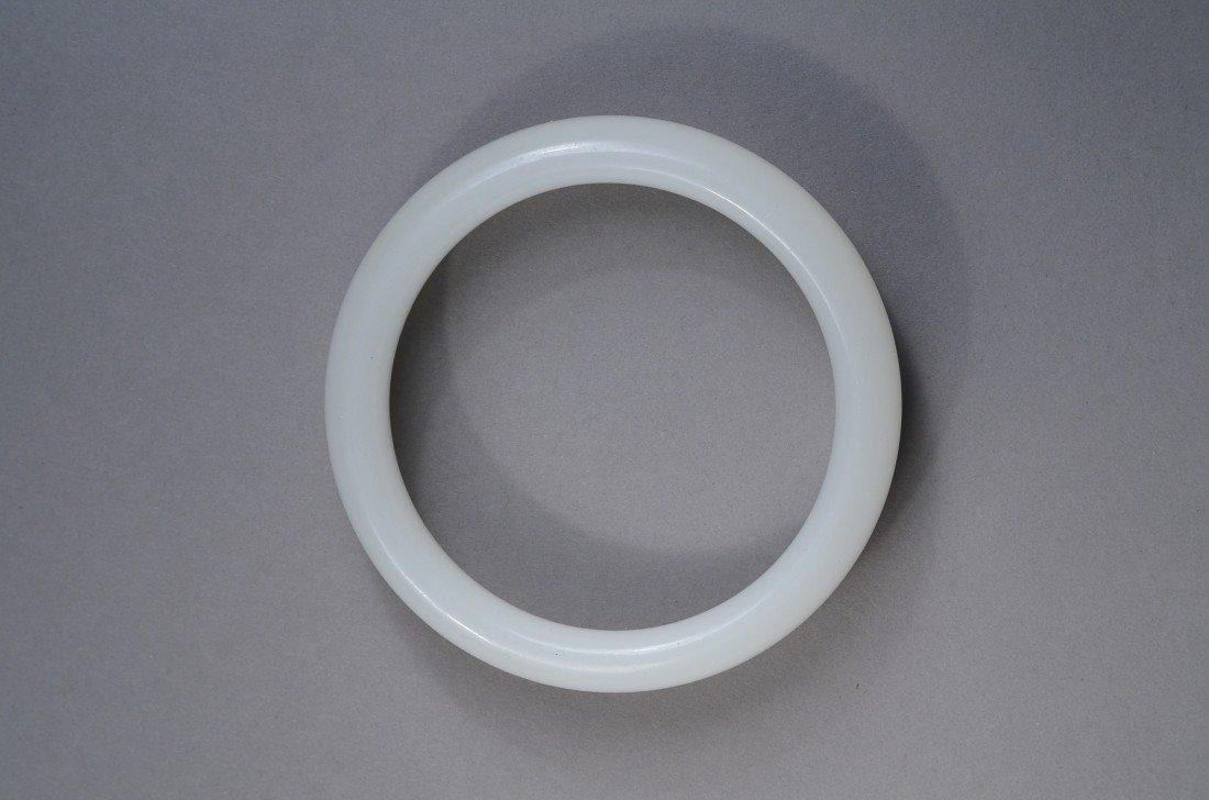 103: Chinese Carved Translucent White Jade Bangle