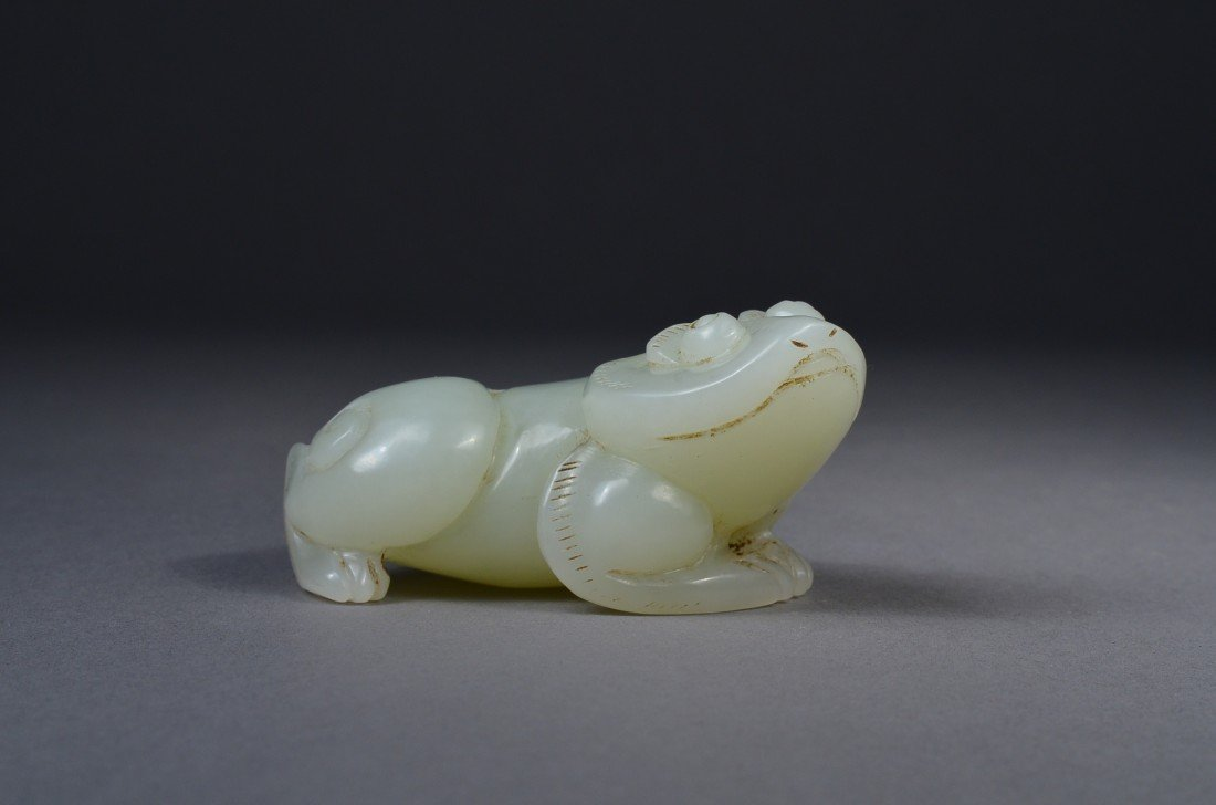 108: Chinese Carved Hetian Jade Figure of Toad