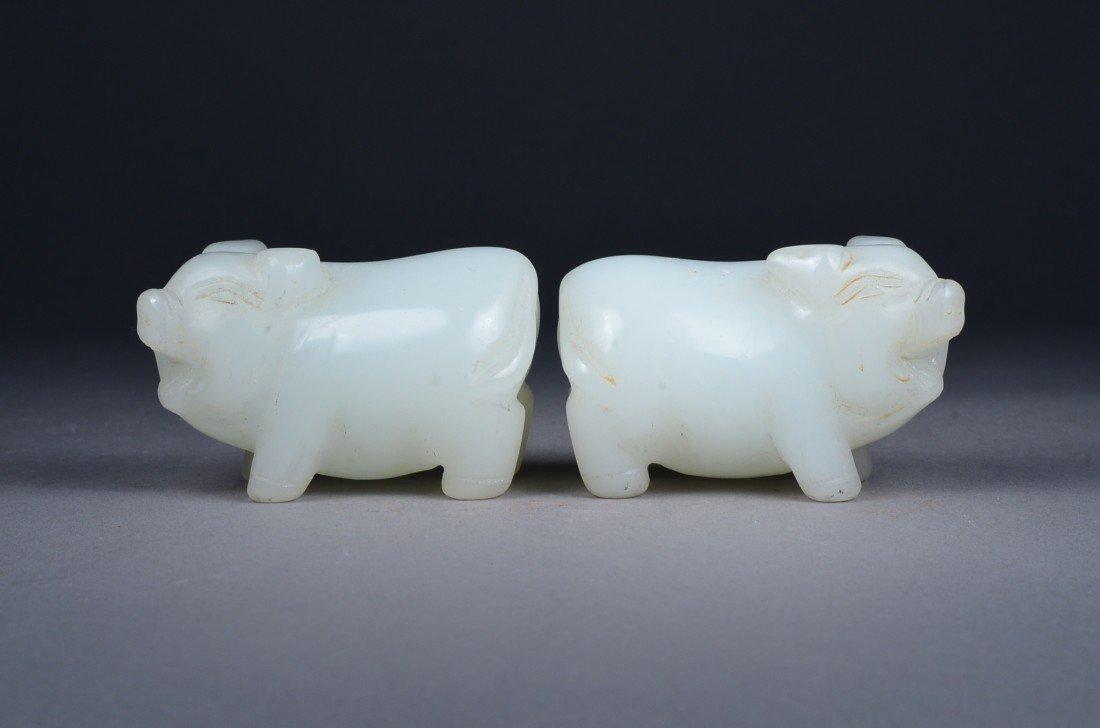 113: Pair Chinese Carved White Jade Zodiac Pigs