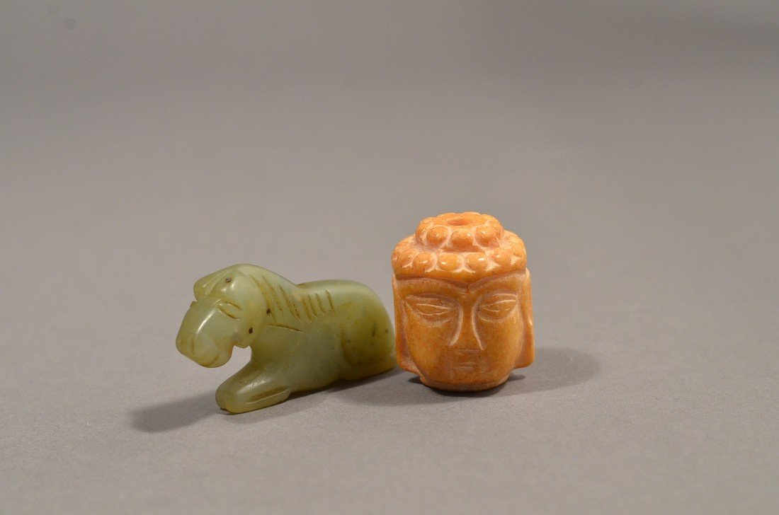 117: Set of 2 Chinese Jade Brown Buddha Face and Horse