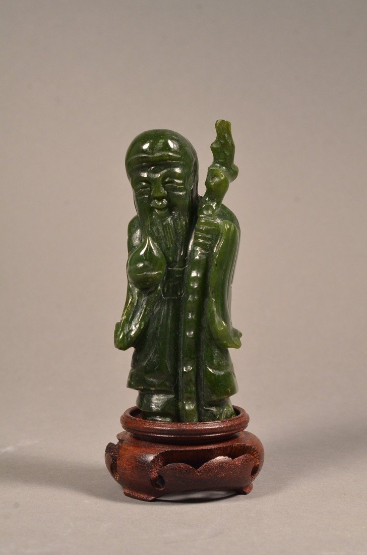 118: Chinese Spinach Jade Happy Man w/ Peach and Staff