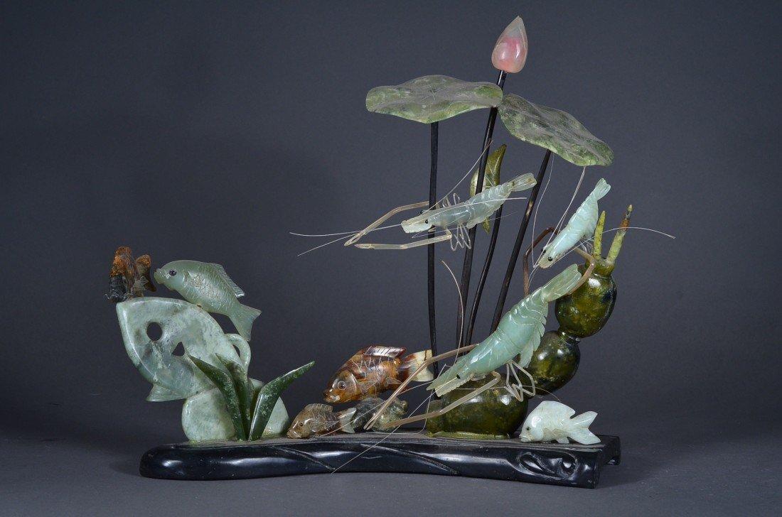 119: Chinese Carved Jade Sculpture of Underwater Scene