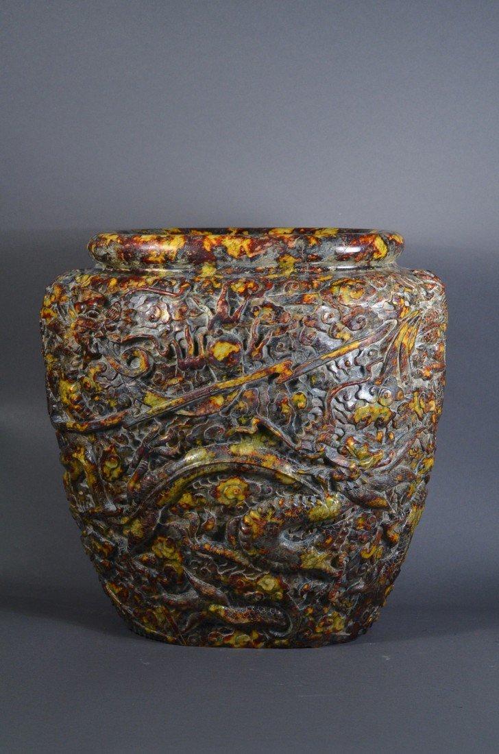 215: Chinese Feng Shui 5 Jade Dragon Jar Ming Xuande
