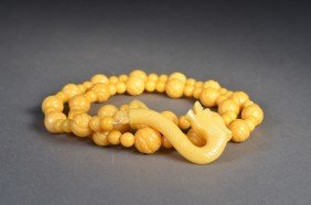 Rare Chinese Yellow Jade Necklace With Dragon